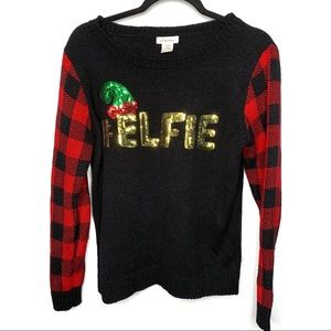 Red Buffalo Plaid Ugly Christmas Sweater Elfie Med
